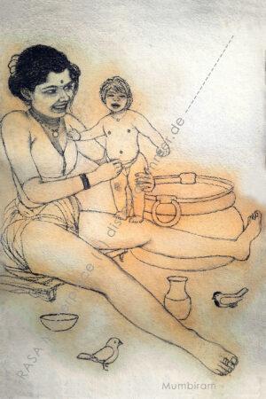 """""""Sparrows visiting the Baby Bath""""- Rasa Masterpiece"""