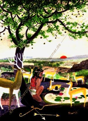 """""""Hunter with Deer under the Bel Tree"""" – Rasa Masterpiece"""