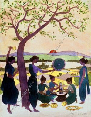 """Morning Puja under the Bel Tree"" – Rasa Masterpiece"