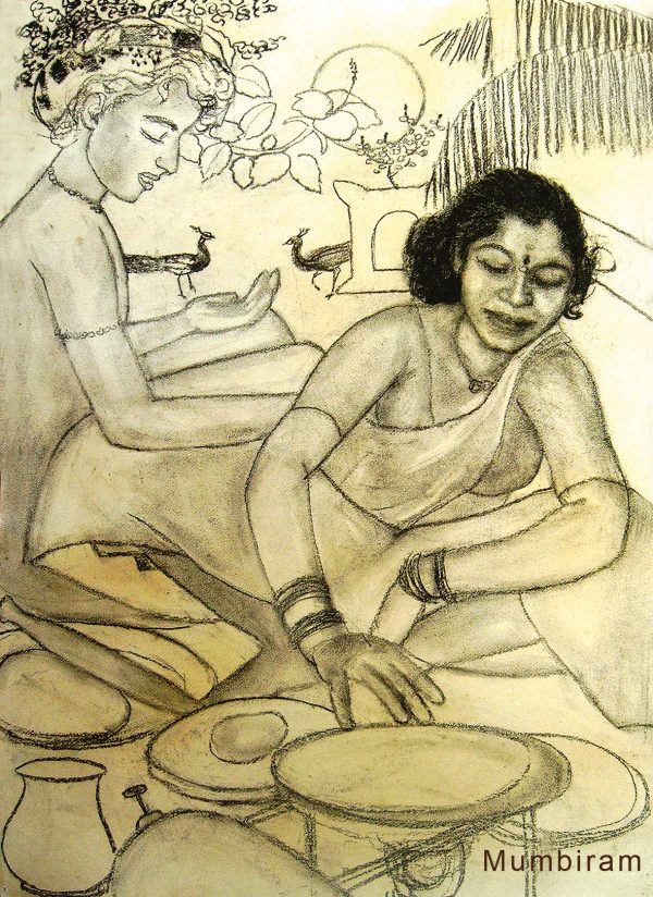 "Book Readers: ""Not by Bread alone - Kusum making Chapattis"", Mumbiram, Charcoal, Pune 1990"