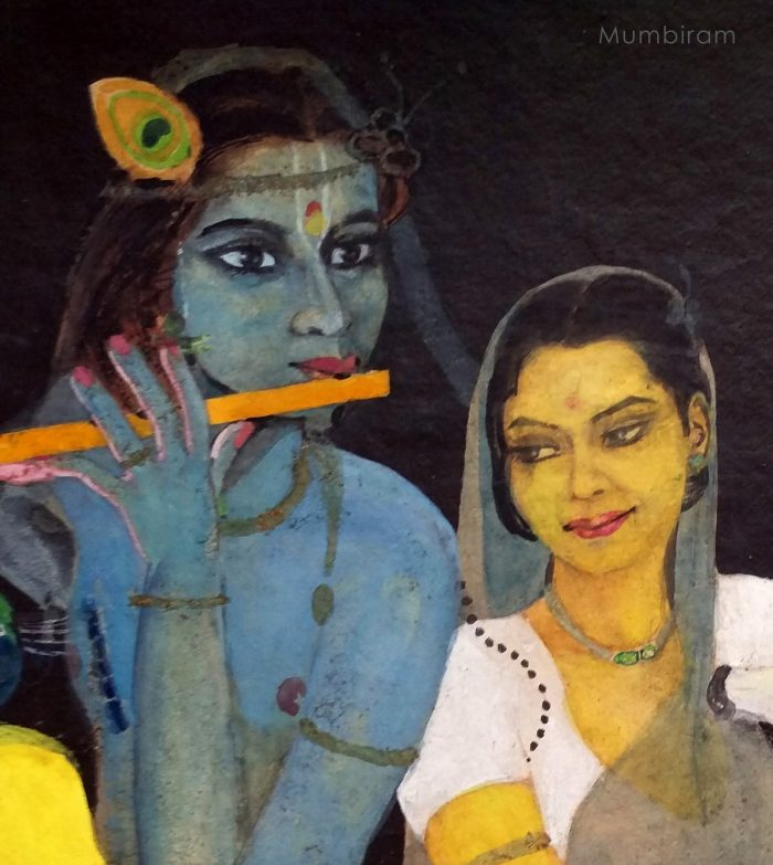 Krishna is doing what he likes to do the most: playing his flute.... Radha is a picture of contentment and admiration, happy just to be with him.